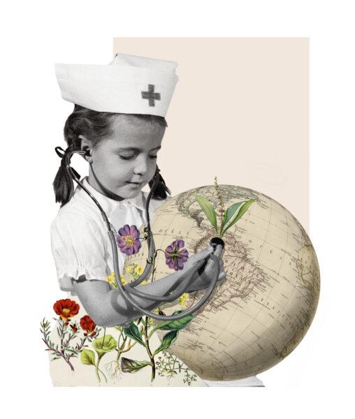 Kollageillustration av en flicka som håller ett stetoskop mot en gammal illustration av en jordglod