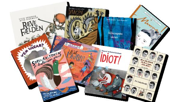 Kollage med pärmar av barnböcker