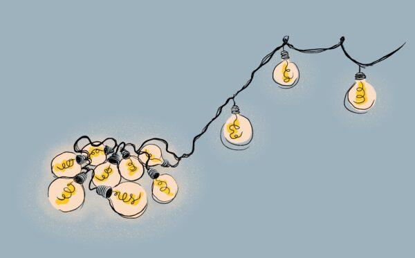 illustration föreställande glödlampor på rad som är ihoptrasslade och några som är ordnade och upphängda efter varandra